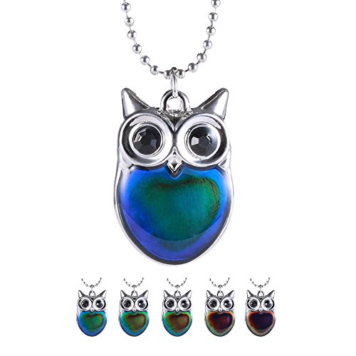 Gmai Owl Colored Mood Fun Change Color Pendant Necklace for Women Girls