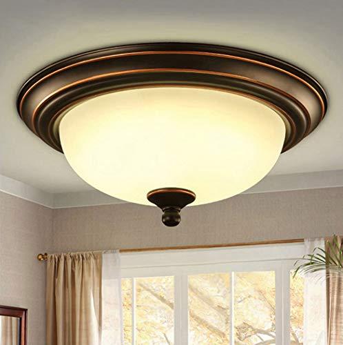 (W&HH Retro LED Ceiling Light, Modern Metal Glass Living Room Creative Ceiling Light Round Design Decoration Lighting Bedroom Corridor Ceiling Lights,49cm)