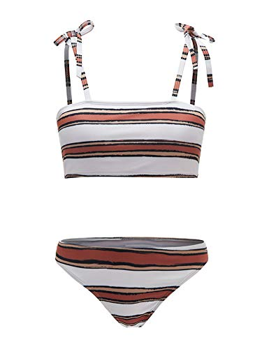 Floerns Women's 2 Piece Bandeau Cami Swimsuit Bikini Set Brown Striped S