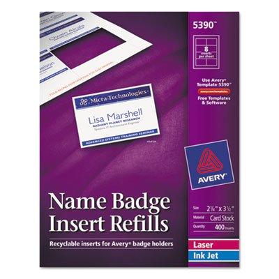 Avery 5390 Additional White Laser/Inkjet Insert for Badge Holder,2 1/4 x 3 1/2,White,400/BX
