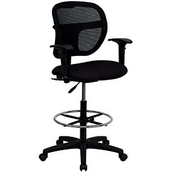 Amazon Com Mid Back Mesh Drafting Stool With Black Fabric