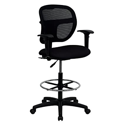 amazon com mid back mesh drafting stool with black fabric seat and