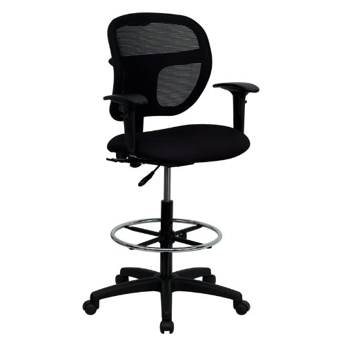 Mid-Back Mesh Drafting Stool with Black Fabric Seat and Arms [WL-A7671SYG-BK-AD-GG] by Flash Furniture
