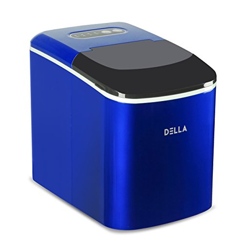 Della Portable Ice Maker Machine for Counter Top - Makes 26 lbs of Ice per 24 hours - Ice Cubes ready in 7 Minutes Blue