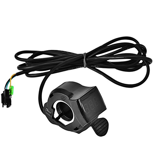 Fsskgx E-Bike Throttle, 12V - 99V 4-Wire Twist Thumb Throttle Speed Control Assembly with LCD Digital Battery Voltage Display