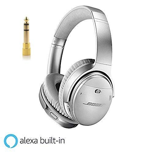 Bose QuietComfort 35 Series II 1 Year Extended Warranty Deco Gear 6.35mm to 3.5mm Adaptor Value Bundle Noise Cancelling with Alexa Voice Control Silver Wireless Headphones