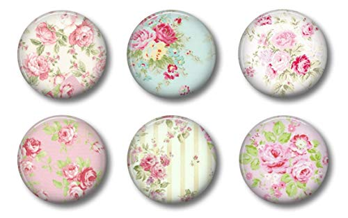 "Vintage Shabby Chic Roses Office Decor Magnets - Farmhouse Style with Roses - 1.75"" Set of 6 - Whiteboard Locker Magnets For Home School Fridge or Kitchen"