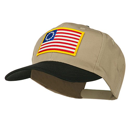 [Betsy Ross Flag Patched Cotton Twill Pro Style Cap - Black Khaki OSFM] (Betsy Ross Hat)