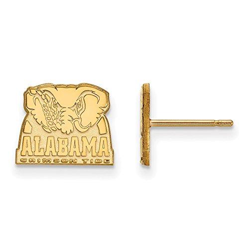 14k Yellow Gold LogoArt Official Licensed Collegiate University of Alabama (UA) Xs Post Earrings by LogoArt
