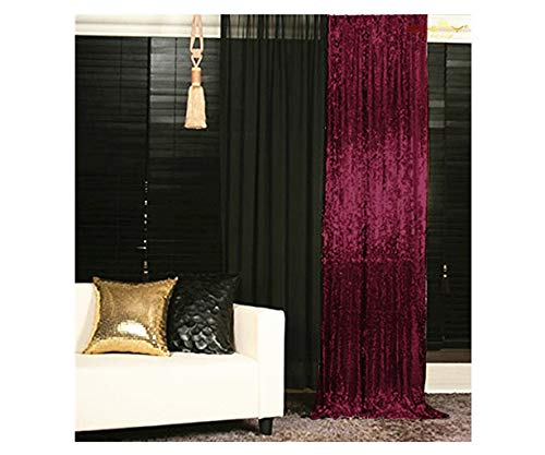 ShinyBeauty Sparkle Backdrop Curtain Burgundy 2 Panels Set Sequin Photo Backdrop Wine 2FTx8FT Sequin Backdrop Curtain Pack of 2~1220S