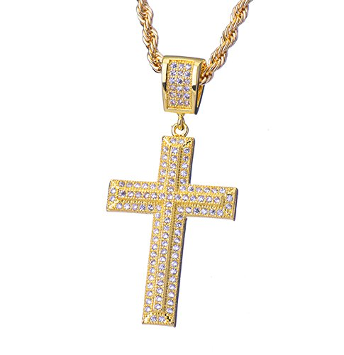 Metaltree98-Mens-Hip-Hop-New-14K-Plated-Gold-God-Micro-Cross-Pendant-24-Rope-Chain-BCH-1022