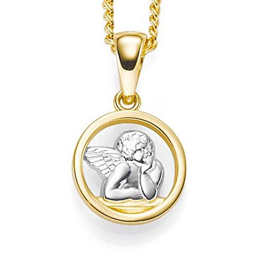 Pendentif amulette d'anges en or jaune et blanc 585/1000 10 x 15 mm pour femme