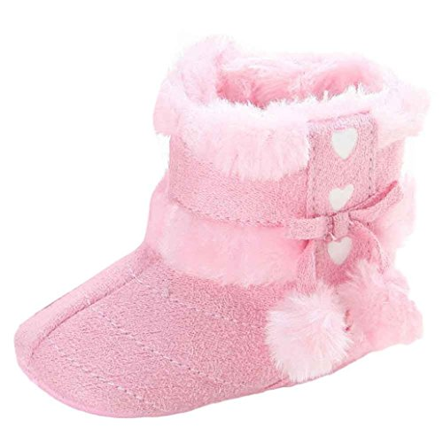 Voberry Baby Toddler Girls Knit Soft Winter Warm Snow Boot Fur Trimmed Pom Pom Boots (0~6 Month, Pink 2)