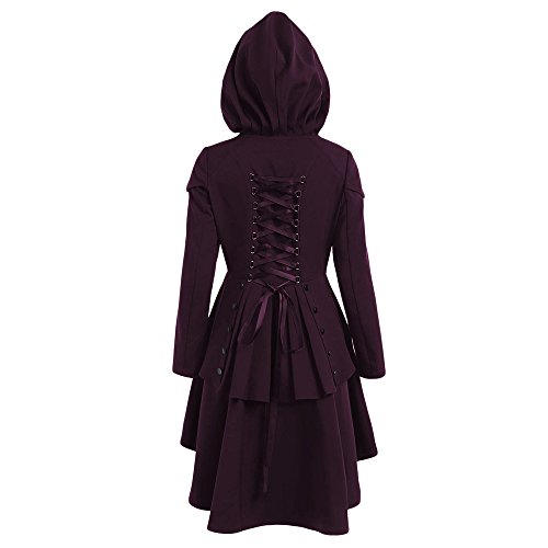 Casual boutonnage bas Intense Layered manteau haut CharMma capuchon Hem Femmes Violet Lace Up f5wqEBHx