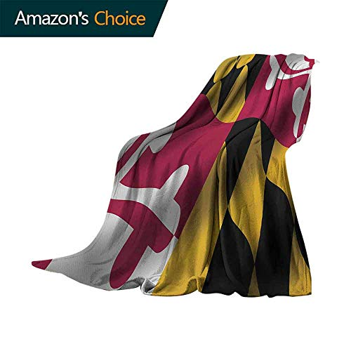 vanfan-home American Outdoor Blanket,Flag of The US State of Maryland Closeup 3D Style Picture Waving America National Super Soft Faux Fur Plush Decorative Blanket (60