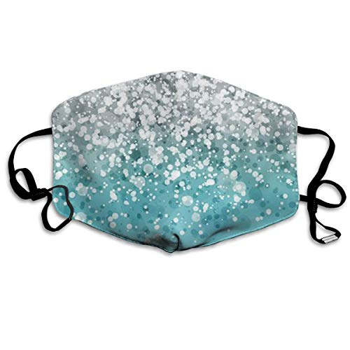 Glitter Lite Blue - Silver Falling Sparkles On Light Blue Glitter Anti-Dust Earloop Mouth Mask for Women Men, Anti Flu Pollen Painting Kaomoji Half Face Mouth Mask - Elastic Band Hypoallergenic Respirator