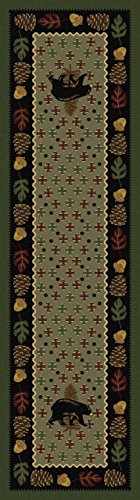 KENSINGTON ROW LAKE AND LODGE COLLECTION AREA RUGS - BEAR COUNTRY RUG - 2' X 8' RUNNER - GREEN - LODGE DECOR