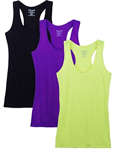 (Caramel Cantina 3 Pack Cotton Racerback Tanktop (X-Large, Purple/N.Yellow/Black))