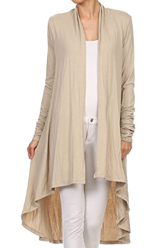 ReneeC. Women's Natural Bamboo Solid Open Front Draped Cardigan – Made in USA (Large, Taupe)