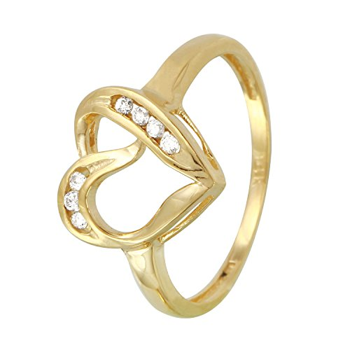 0.12 Carat Natural Diamond 14K Yellow Gold Heart Engagement Ring for Women Size 7 - 0.12 Ct Natural
