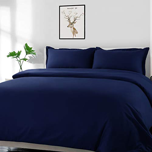 - COHOME King 3 Pieces Set Down Duvet Cover 100% Brushed Microfiber 3 Pcs (1 Duvet Cover + 2 Pillow Cases) Cooling Soft Breathable with Zipper Closure & Corner Ties Hotel Series Blue 90X90