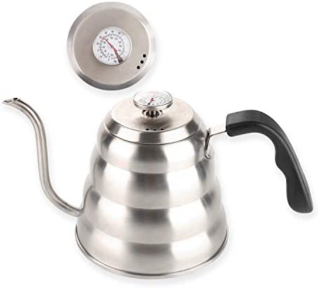 Pour Over Coffee Kettle with Thermometer for Exact Temperature-Premium Grade Stainless Steel-Gooseneck Pour Over Kettle for Drip Coffee and Tea 1.2 Liter 40 fl oz