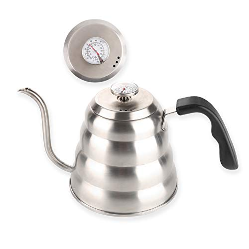 (Pour Over Coffee Kettle with Thermometer for Exact Temperature-Premium Grade Stainless Steel-Gooseneck Pour Over Kettle for Drip Coffee and Tea (1.2 Liter | 40 fl)