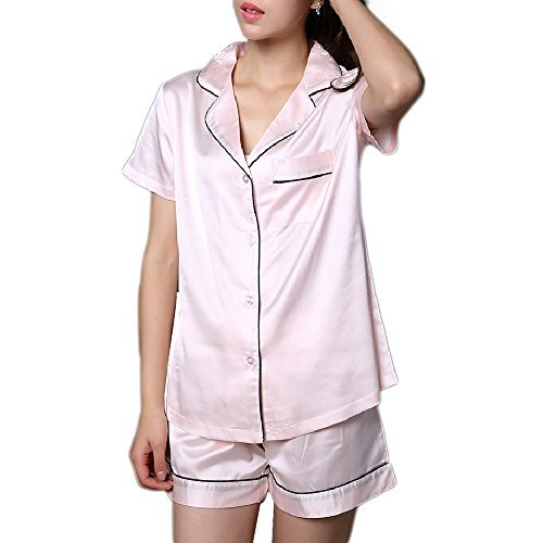 - NANJUN Women's Satin Pajamas Sleepwear Short Sleeve Tops Button-Down Pj Set(Pink,m1)
