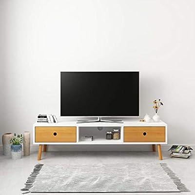 Mobile Porta Tv Basso Moderno.Tidyard Mobile Porta Tv Moderno Bianco In Legno Mobile Tv Basso