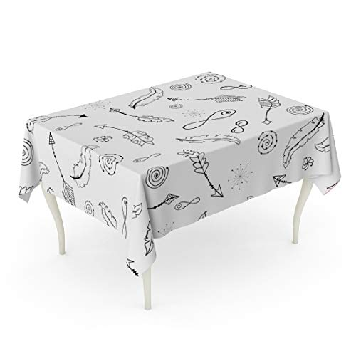- Tarolo Rectangle Tablecloth 60 x 102 Inch Pattern Bohemian Monochrome Arrows Feathers Spirals Signs of Infinity in Boho Gypsy Handdrawn Table Cloth