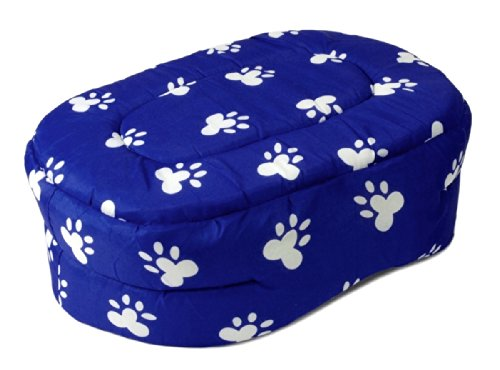"""PET BED 15"""" Blue w. White Paw Prints Dog Cat Puppy Cushion Pillow Small"""