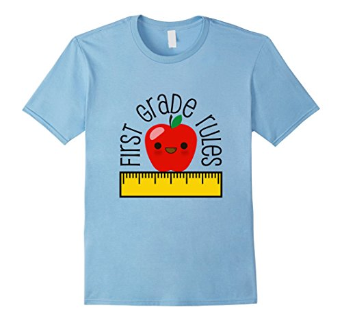 Mens First Grade Rules Shirt Cute Teacher Gift Back to School Tee XL Baby Blue (Grad Rules)