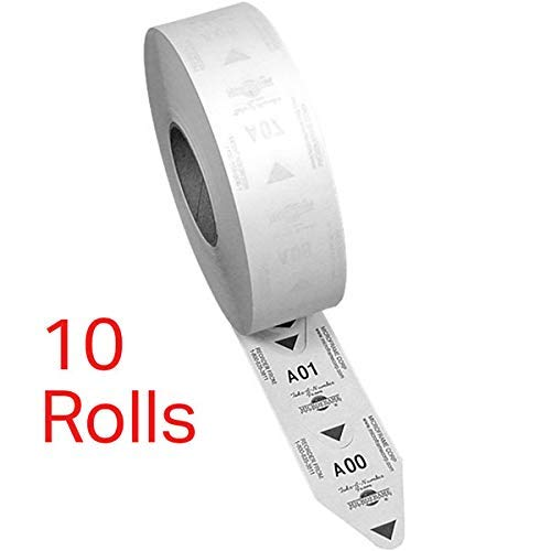 10 Rolls of 2-Digit Turn-O-Matic T80 White Take a Number Tickets for D80 Ticket Dispenser - 3000 / roll by Microframe Corporation