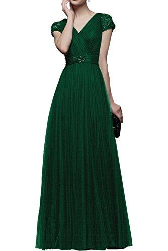 Kurzarm Langes Rock Gruen Promkleider linie Prinzess Partykleider Braut Abendkleider Rosa Festlichkleider Tuell La Lang mia Dunkel a qtgBw44I