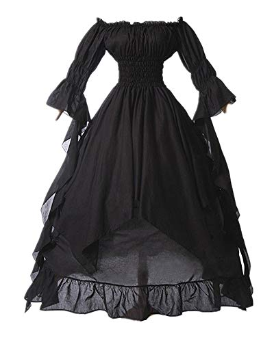 LY-VV Women Plus Size Off Shoulder Renaissance Medieval Dress Costume Black -