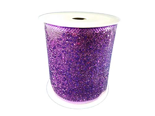 Wired Metallic Glitter Ribbon for Bows, Wreaths, Crafts, Holiday Decorations, 4 Inches x 25 Feet (Purple)