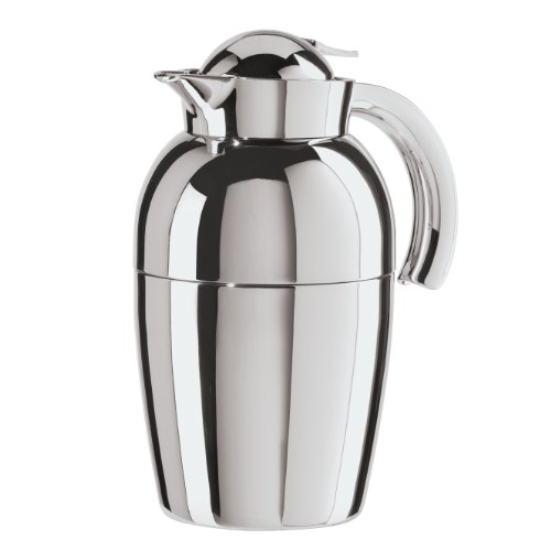 Oggi (6515.0) Senator Carafe with Press Button Top and Glass Liner, 1-Liter, Silver