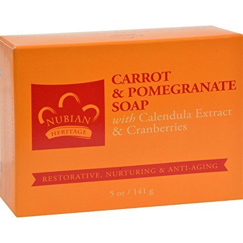 Nubian Heritage Bar Soap Carrot And Pomegranate - 5 oz - Pack of 6