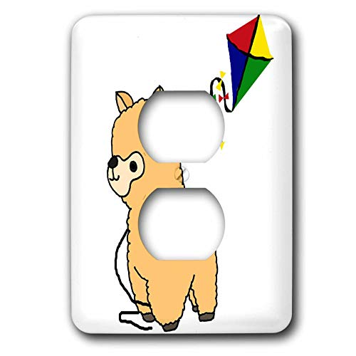 3dRose All Smiles Art Animals - Funny Cute Alpaca Flying Kite Cartoon - Light Switch Covers - 2 plug outlet cover (lsp_288132_6)