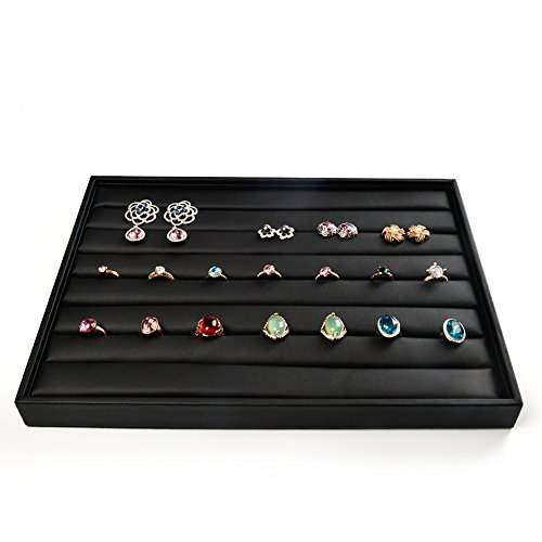 (Oirlv Rings/Earrings Display Tray Leather Jewelry Organizer Trays)