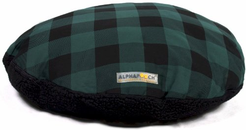 AlphaPooch Drifter Round Dog Bed, Green Check Fabric with Black Fleece, Small (Bed Small Black Check)