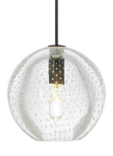 Tech Lighting 700MPBUECS Bulle - One Light Monopoint Pendant, Satin Nickel Finish with Clear Glass Clear Glass Monopoint Pendant