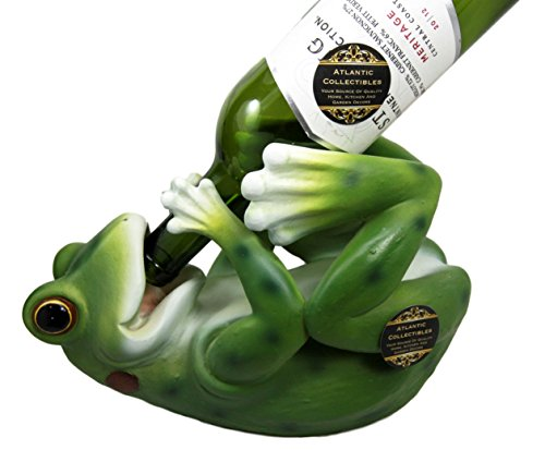 "Atlantic Collectibles Tropical Rainforest Frog Wine Bottle Holder Caddy Figurine 10.25"" Long"