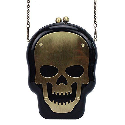 Women Acrylic Skull Shape Evening Bags Purses Clutch Vintage Banquet Handbag Party Bags black