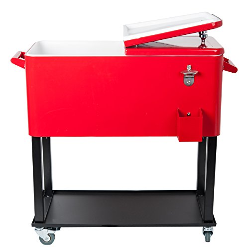 HIO Rolling Ice Chest Portable Patio Party Drink Cooler C...