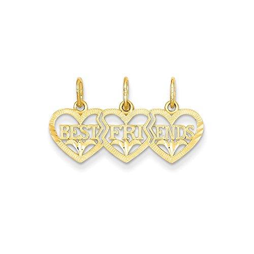 14k Gold Triple Heart D/C Best Friends Break-apart Pendant (0.59 in x 1.02 in)