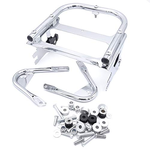 (ASD Chrome Two Up Razor Chopper King Size Tour Pak Pack Trunk Detachable Mounting Rack+Docking Harware kit For 1997-2008 Harley Davidson Touring Model)