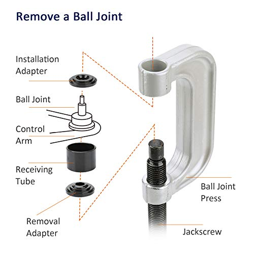 OrionMotorTech Heavy Duty Ball Joint Press & U Joint Removal Tool Kit with 4wd Adapters, for Most 2WD and 4WD Cars and Light Trucks (BK) by OrionMotorTech (Image #3)