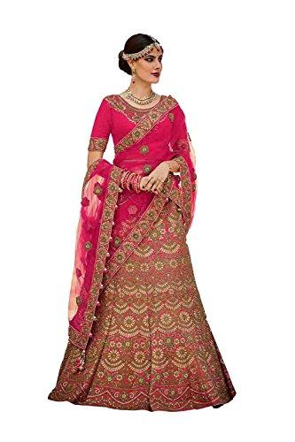 PCC Silk Fabric Deep Pink Pretty Lehenga Style With Embroidery Work Dupatta 79602
