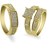 Gem Stone King 2.00 Ct His and Hers 3 Pieces Round CZ Gold Plated Silver Engagement 3 Set